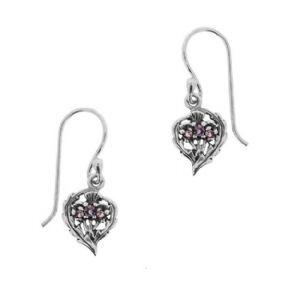 Scottish Thistle Silver Drop Earrings with Amethyst colour stones 1043